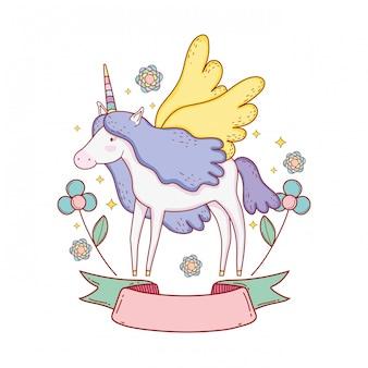 Милый единорог с лентой и цветочным декором