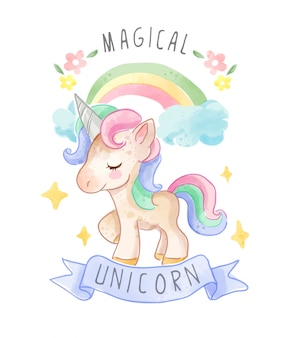 Cute unicorn with ribbon and colorful rainbow illustration