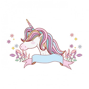 Cute unicorn with ribbon and floral decoration
