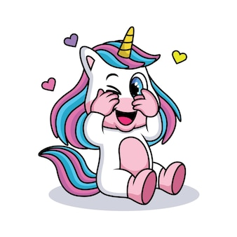 Cute unicorn with shy expression with love.