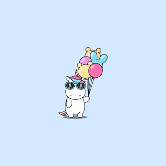Cute unicorn with sunglasses holding balloons