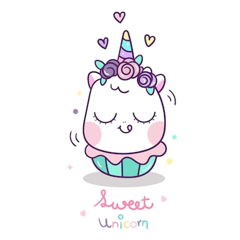 Cute unicorn with sweet cup cake cartoon