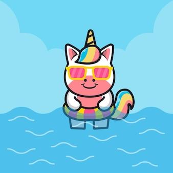 Cute unicorn with swim ring cartoon   illustration animal summer concept