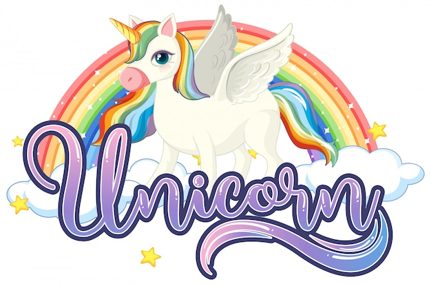 Cute unicorn with unicorn sign