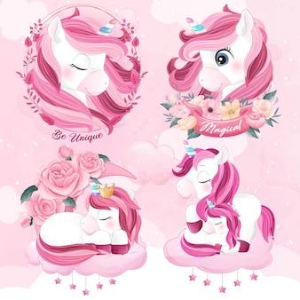 Cute unicorn with watercolor illustration set