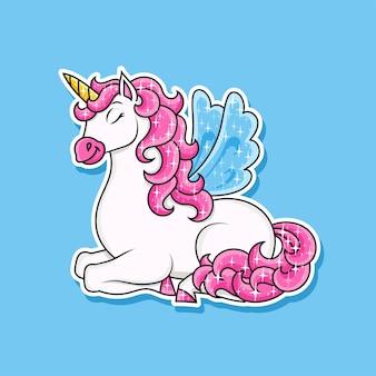Cute unicorn with wings magic fairy horse