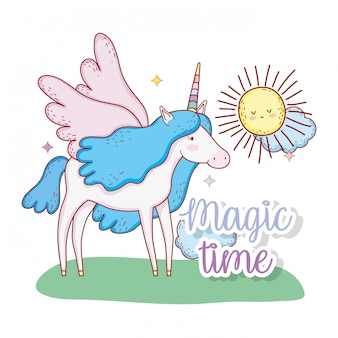 Cute unicorn with wings and sun with clouds
