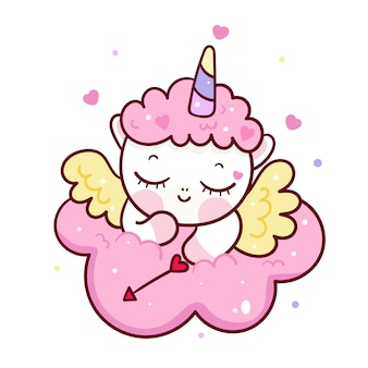 Cute unicornio cupid cartoon on cloud