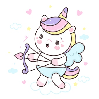 Cute unicornio holding arrow cupid