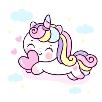 Cute unicornio hug heart