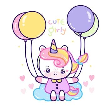 Cute unicornio on sky balloon