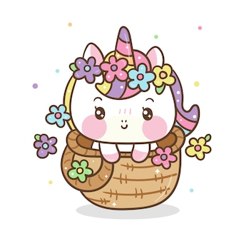 Cute unicorno in basket