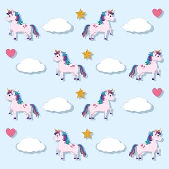 Cute unicorns cartoons pattern background vector illustration graphic design
