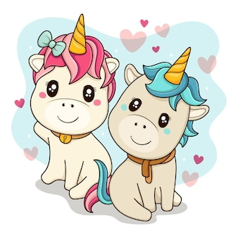 Cute unicorns couple illustrated