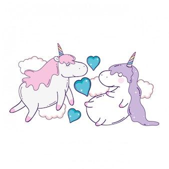 Cute unicorns couple kawaii character