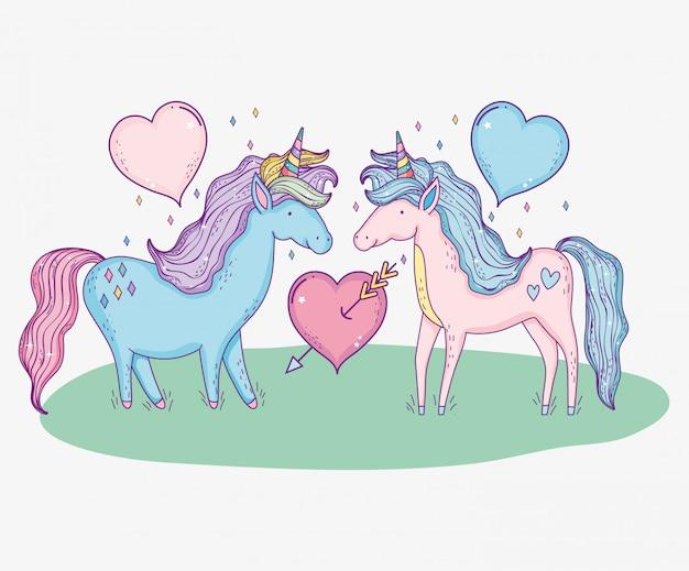 Cute unicorns couple with hearts and arrow