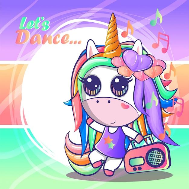 Cute unicorns dancing