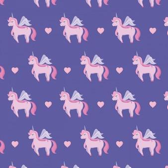 Cute unicorns of fairy tale pattern
