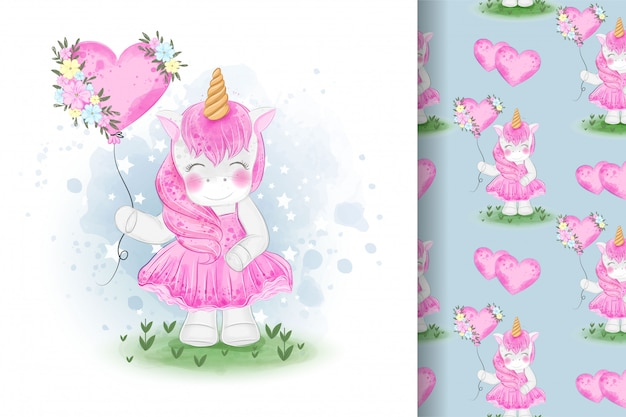 Cute unicorns holding balloons  illustration and seamless patterns