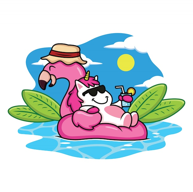Cute unicorns relax in summer