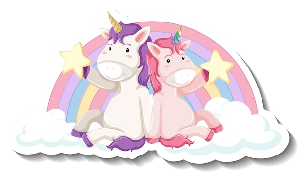 Cute unicorns siting on the cloud cartoon sticker