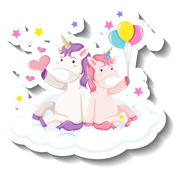 Simpatici unicorni seduti sull'adesivo cartone animato nuvola