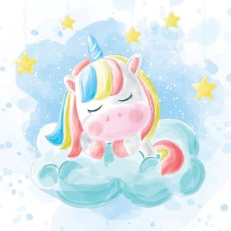 Cute unicorns sleep on clouds