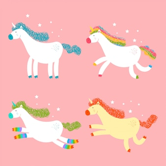 Cute unicorns vector cartoon characters set isolated