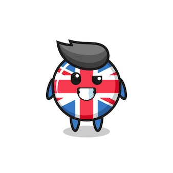 Cute united kingdom flag badge mascot with an optimistic face , cute style design for t shirt, sticker, logo element
