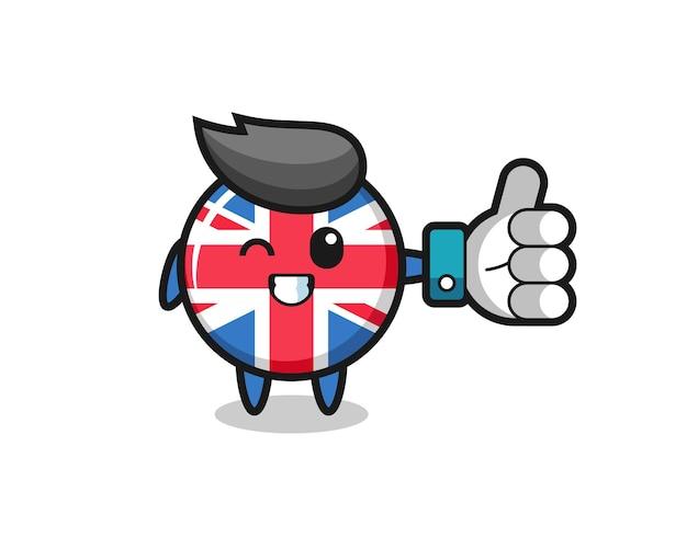 소셜 미디어 엄지손가락 기호가 있는 귀여운 영국 국기 배지, 티셔츠, 스티커, 로고 요소를 위한 귀여운 스타일 디자인