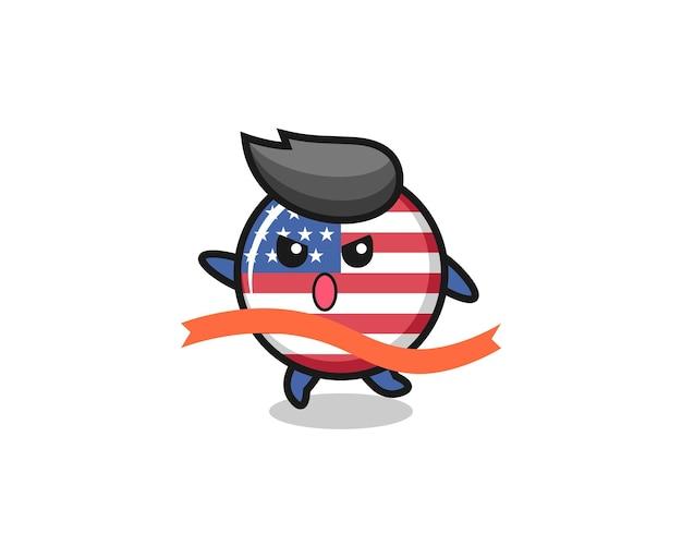 귀여운 미국 국기 배지 그림이 마무리, 티셔츠, 스티커, 로고 요소에 대한 귀여운 스타일 디자인에 도달하고 있습니다.