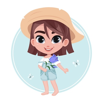 Cute unshod little girl character in hat holding flower on pastel blue background