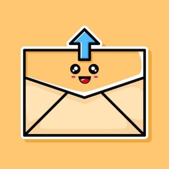 귀여운 업로드 이메일 만화 디자인