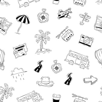 Cute vacation or travel doodle elements in seamless pattern