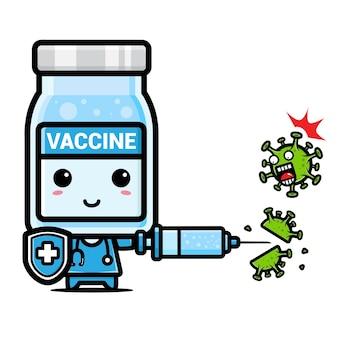 바이러스에 대한 귀여운 백신 마스코트