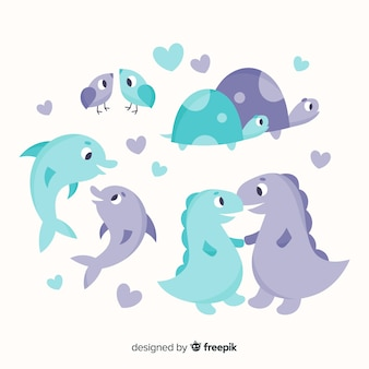 Cute valentine animal couple collection
