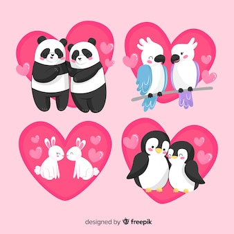 Cute valentine animal couples pack