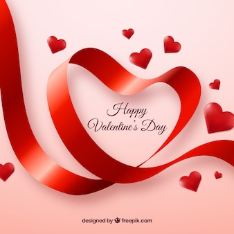 Cute valentine background of ribbon