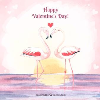 플라밍고와 귀여운 발렌타인 배경
