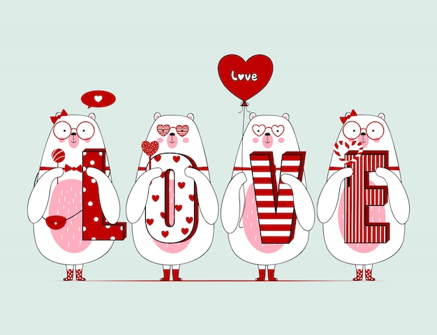 Cute valentine bears with