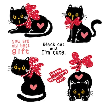 Cute valentine black cat kitten with red ribbon bow holiday gift collection set, doodle illustration clip art