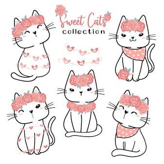 Cute valentine cat collection, cartoon