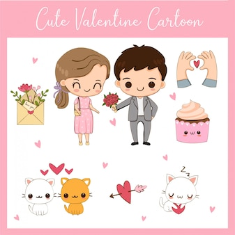 Cute valentine couple and elements cartoon set