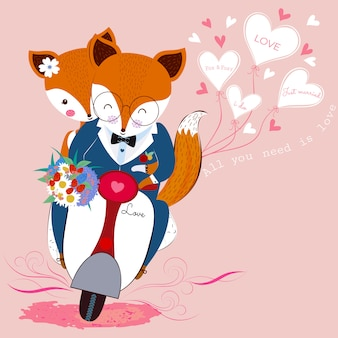 Cute valentine fox couple in love with flower bouquet on scooter and white heart shaped balloons