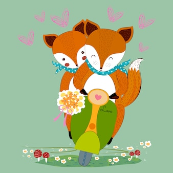 Cute valentine fox couple in love with flower bouquet on scooter