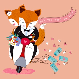 Cute valentine fox couple in love