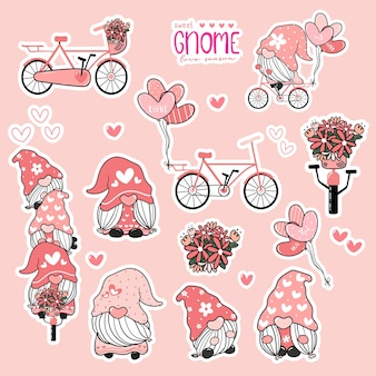 Cute valentine gnome sweet pink love collcetion, gnome on bicycle sticker printable set.