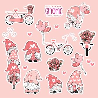 かわいいバレンタインgnome甘いピンクの愛のコレクション、自転車のステッカー印刷可能なセットのgnome。
