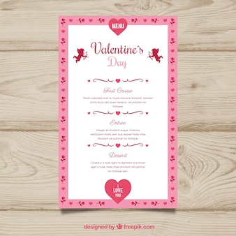 Cute valentine menu design