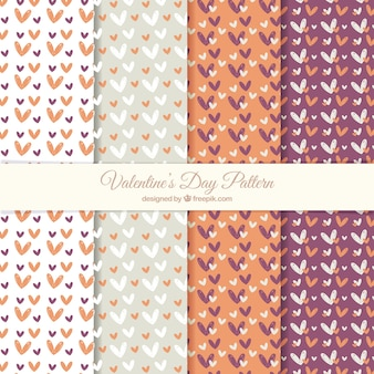 Cute valentine patterns with hand-drawn hearts